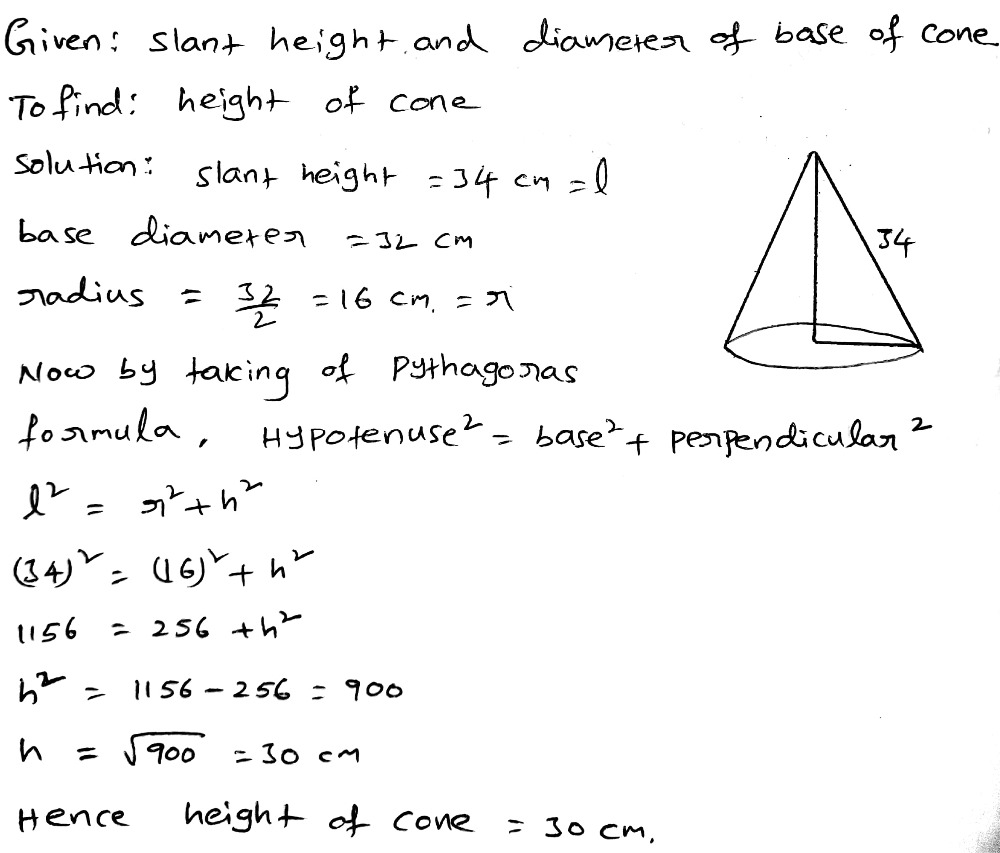 Find the height of cone, if its slant height is 27 cm and base